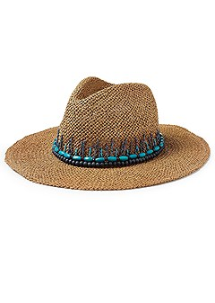 multi color bead panama hat