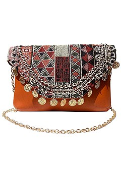 coin embellished clutch