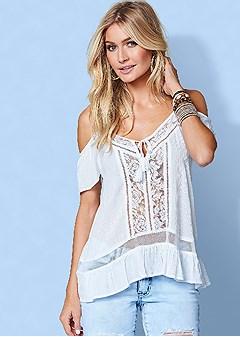 lace cold shoulder top