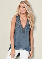 lace v-neck high low top