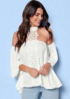 lace choker detail blouse