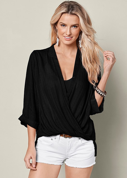 SURPLICE BLOUSON SHIRT,SEAMLESS CAMI,CUT OFF JEAN SHORTS