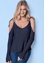 cold shoulder tie sweater