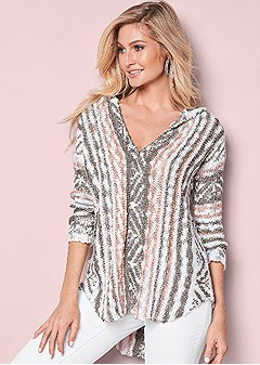 printed cozy sweater