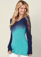 ombre lace inset sweater