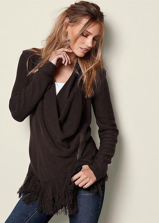 ZIP UP FRINGE CARDIGAN