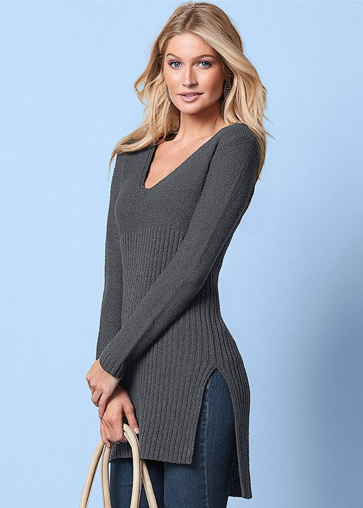 VENUS | High Slit Tunic Sweater in Dark Grey