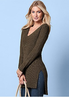 high slit tunic sweater