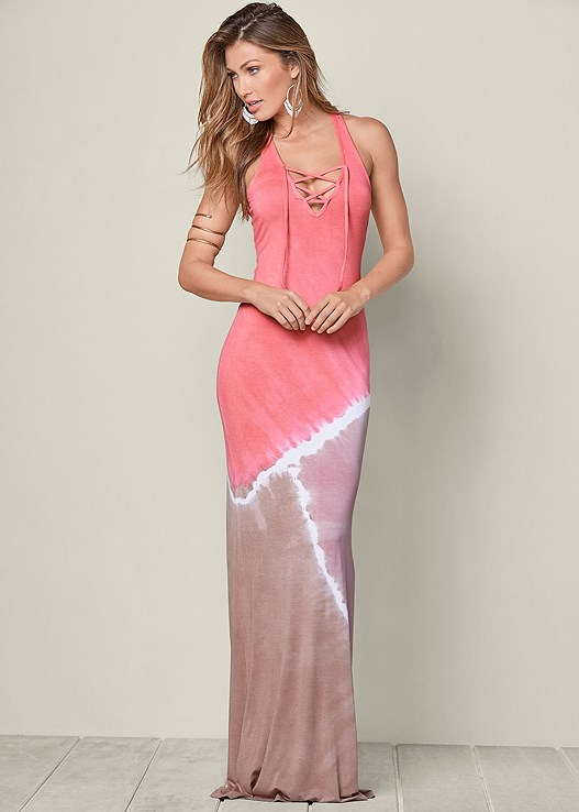 Tie Dye Maxi Dress In Coral Multi Venus