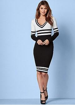 v neck stripe sweater dress