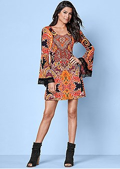 printed trim detail dress