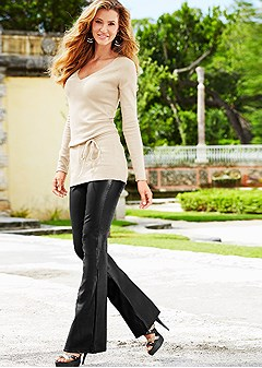 V Neck Belted Tunic Faux Leather Bootcut Pant Heel In