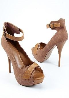 peep toe ankle strap heel