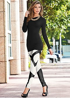 faux leather insert legging