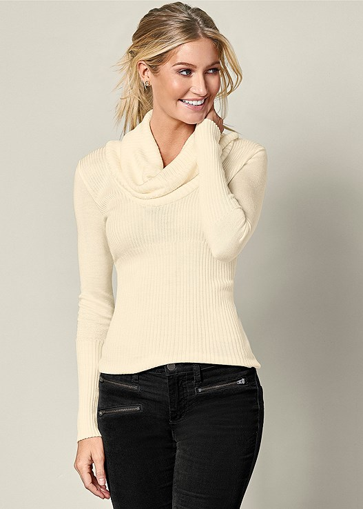 EXAGGERATED COWL SWEATER,ZIPPER DETAIL CORDUROY,TIE BACK BOOTS