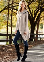 basket weave sweater, skinny jean, boot