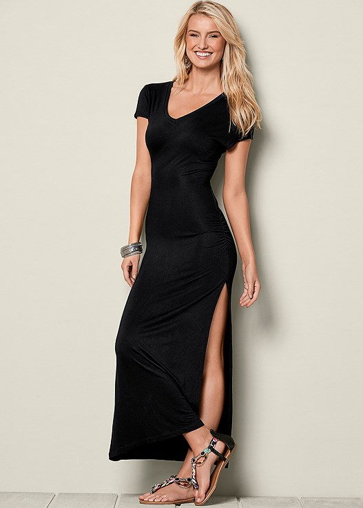 Black V Neck Maxi Dress From Venus