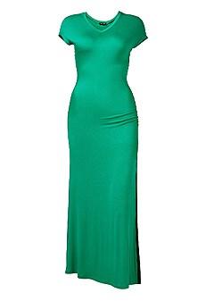 plus size v-neck maxi dress with slit