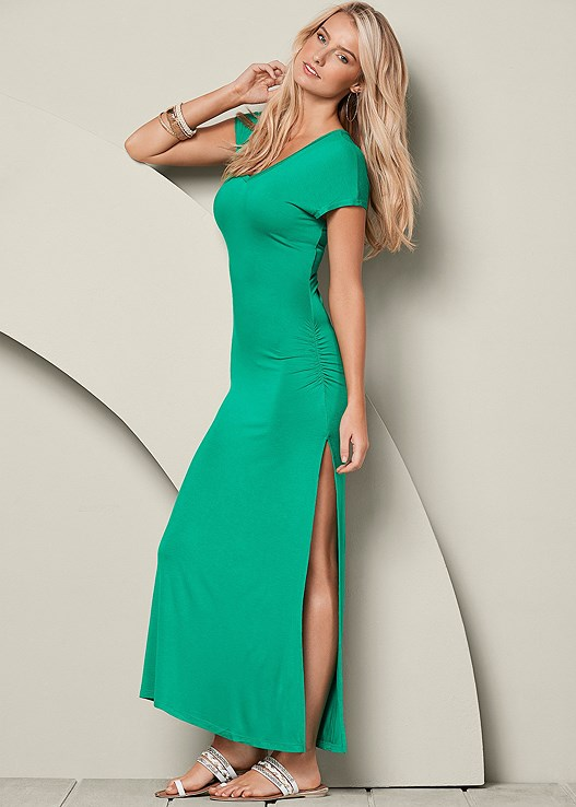 V-Neck Maxi Dress in Green   VENUS
