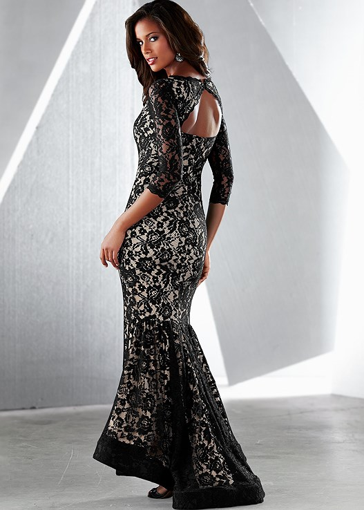 Long Lace Dress in Black Multi | VENUS