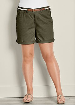 plus size belted cuffed shorts