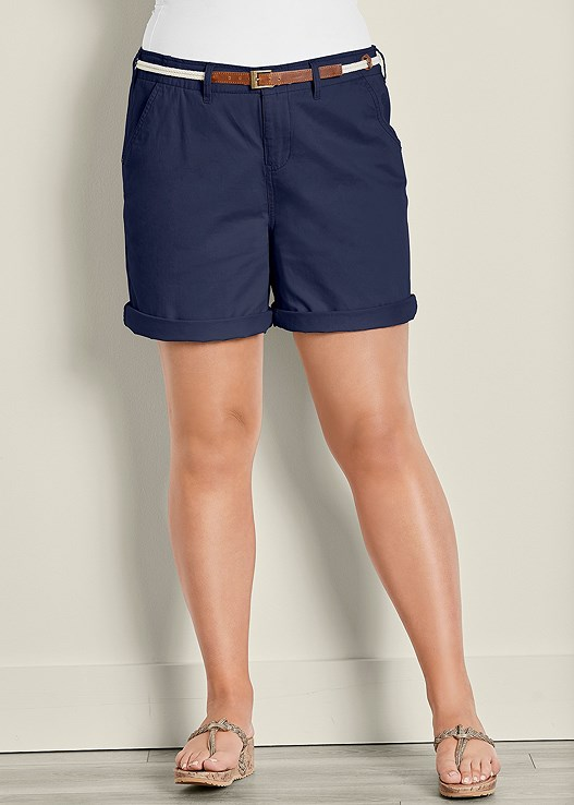 BELTED CUFFED SHORTS,SEAMLESS CAMI