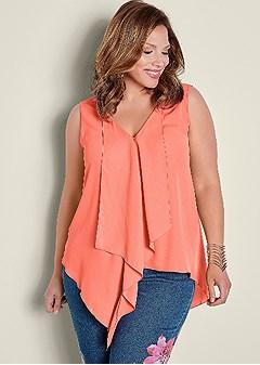 plus size ruffle front blouse
