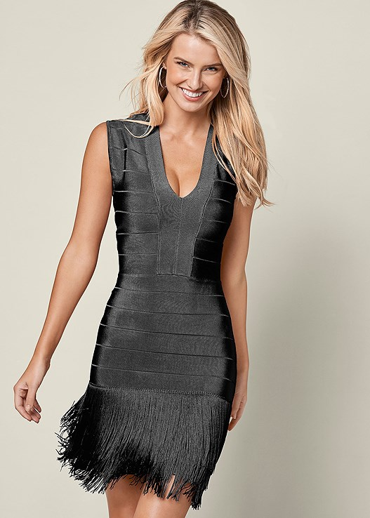 Slimming Fringe Dress In Black Venus