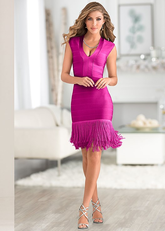 Fuchsia Slimming Fringe Dress Strappy Heel Rhinestone Necklace