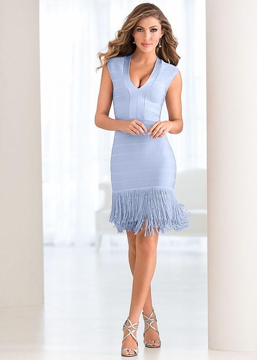 Light Blue Slimming Fringe Dress From Venus