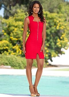 Zip Front Dress In Venus