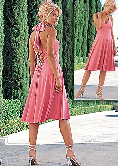 Lace up halter dress in