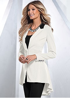 long ruffle back blazer