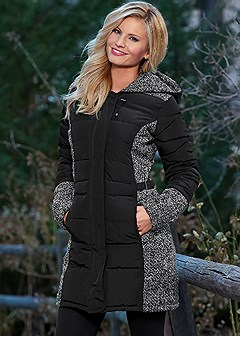 color block puffer coat