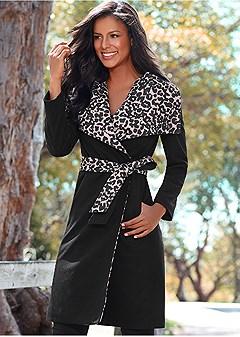 leopard detail coat