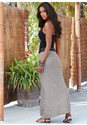 Back view Faux Leather Waistband Detail Maxi Skirt