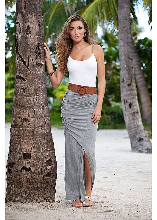 BELTED MAXI SKIRT,SEAMLESS CAMI