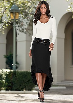 waist detail high low skirt
