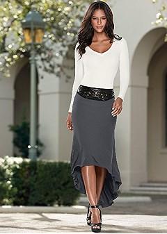 waist detail high low skirt