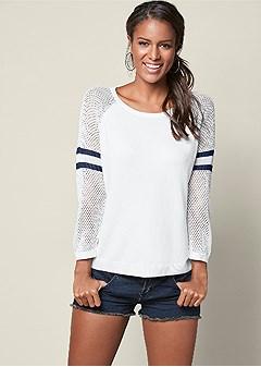 stripe sleeve sweater