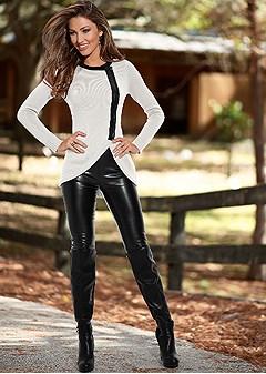 Faux Leather Leggings In Black Venus