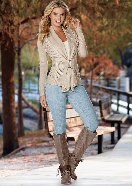 BUCKLE FRONT CARDIGAN,SEAMLESS CAMI,EMBELLISHED WESTERN BOOTS