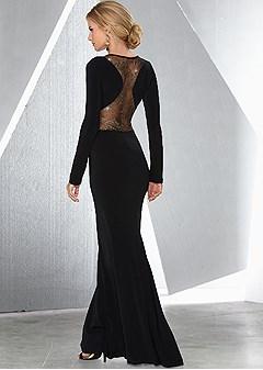 gold detailed long dress