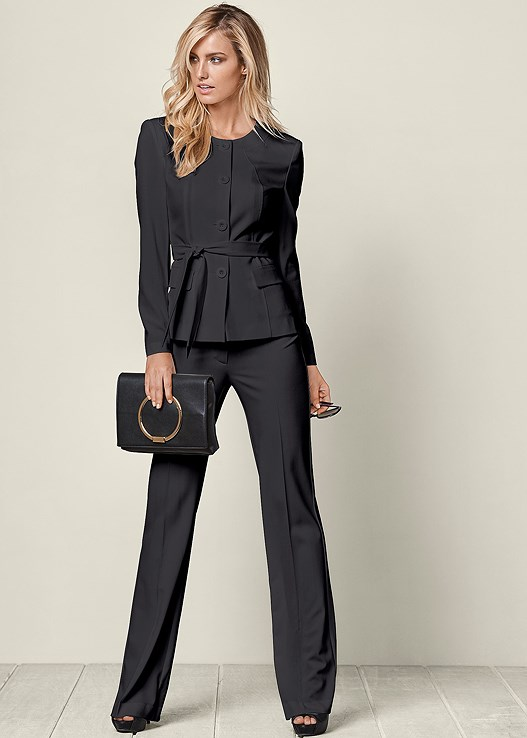 a2b3ed5cd26 BELTED PANT SUIT SET in Dark Grey