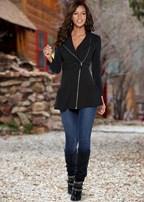 ruffle detail jacket, skinny jeans