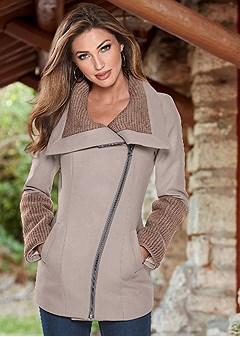 sweater knit detail coat
