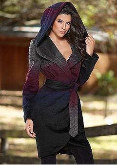 ombre hooded coat