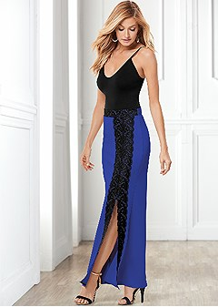 lace slit front long skirt