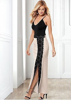 lace slit front long skirt