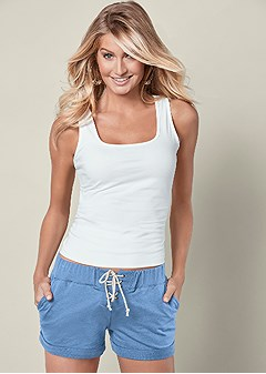 lace up french terry short